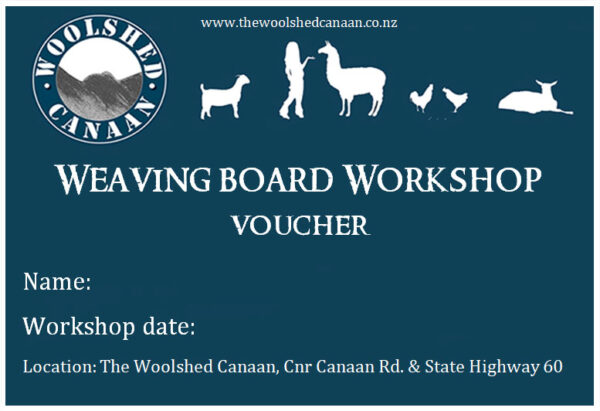 weaving board and lucet workshop voucher at the Woolshed Canaan Takaka Hill, New Zealand